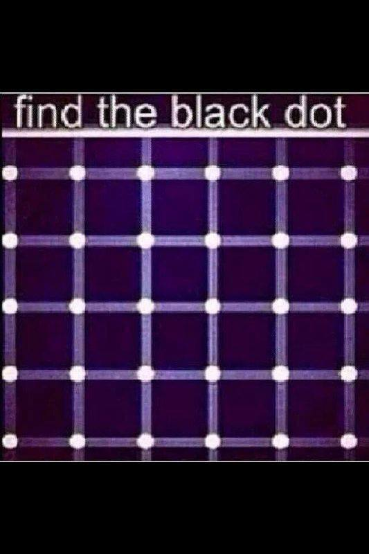 find the black dot in the image belowhey there it is euhh or no it aintoptical illusions at work here
